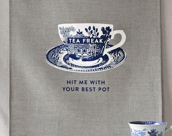 tea freak linen tea towel