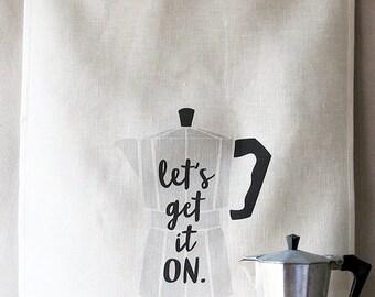 let's get it on linen tea towel