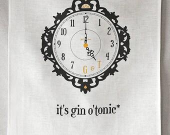 gin o'tonic linen tea towel