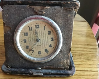 Antique Leatherbound Travel Clock