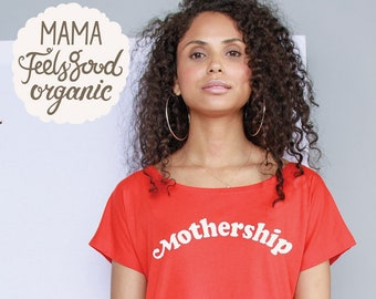 Red Mothership statement tee, 100% organic cotton, loose fit, wide neck tee.