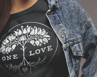 211391150066 One Love graphic tee | screen printed tee | tree tshirt | nature tshirt |  vintage style womens tshirt | unisex fit tee | black womens tee