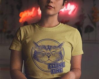 43ca9ad7e Womens Feline fine cat t-shirt , heather yellow , size 8 - 20