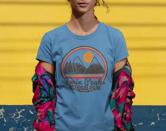 6330a3d4 Heather blue Twin Peaks womens tshirt, hand screen printed tee, womens  national park top, retro graphic print, womens mountain tshirt