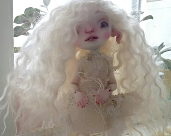 White Jasmine Fenix Blue Butterfly BJD - complete Doll, Faceup, Wig and Costume