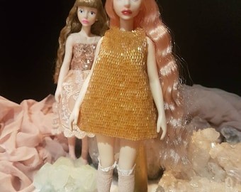 Be My Baby Cherry - Apricot Beaded Dress - Doll not included