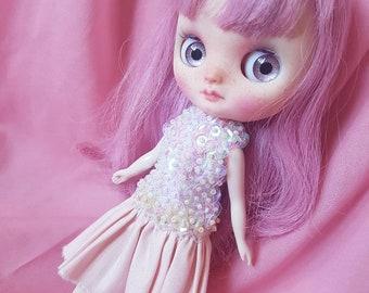 Sequin Pink Daydream Dress for Middie Blythe - Wonderfrog - Jjorori Art Doll