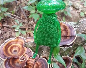 Wonderfrog Beaded Green Dress