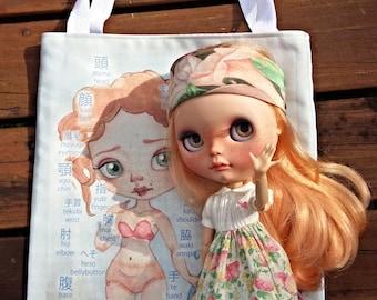 Dolly Body Bag - Japanese and English language illustration Canvas Tote Bag