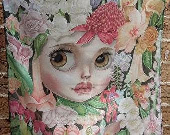 Silk Blythe illustrated painted Headscarf Bandana