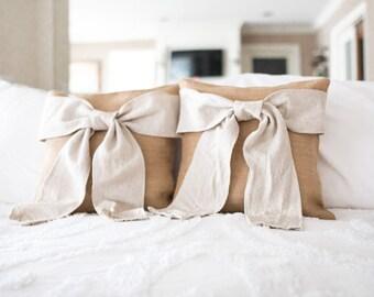 """Burlap Bow Pillow - Burlap and Cream Bow Pillow -Decorative Pillow Cover - 16""""x16"""""""
