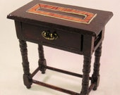Medieval Gothic Tudor walnut side table storage chest. Working drawer, wood inlay. 1 12 scale dollhouse miniature. Artisan handmade USA.
