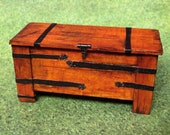Early Medieval Gothic Tudor quot iron quot -bound wooden cedar chest with working latch. 1 12 scale dollhouse miniature. Artisan handmade USA.