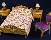 Fully dressed Louis XVI Rococo gilt double bed. 1 to 12 scale dollhouse miniature. Handmade in USA.