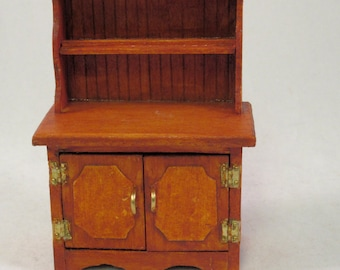Handcrafted Cherry Stain 1//12th Scale Miniature Sink 2 Door Cabinet