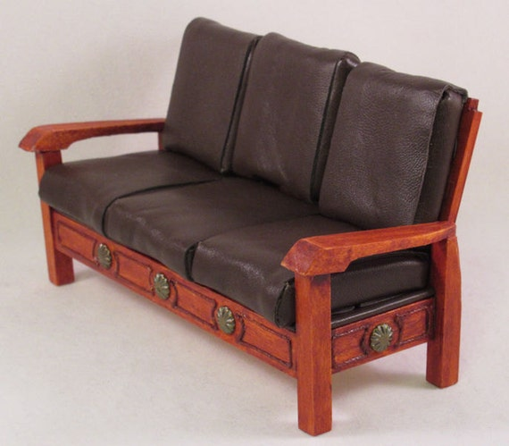 Strange Rustic Southwestern Sofa Cherry Color Wood With Kid Leather Upholstery Miniature Handmade In Usa Inzonedesignstudio Interior Chair Design Inzonedesignstudiocom