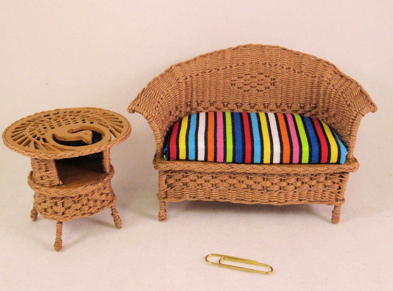 1:12 dollhouse miniature furniture stripe sofa chair for bed room living r LD