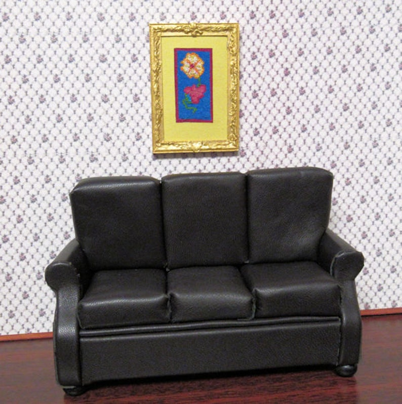 Miniature OOAK Black Genuine Lambskin Leather Sofa Upholstery On Wooden  Frame. Dollhouse 1 To 12 Scale Miniature. Handmade USA.