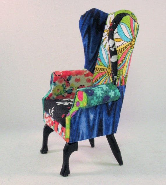 Awesome Miniature Modern Wingback Chair Ooak Wild Turquoise Orange Black And Green Upholstery Hand Carved Legs 1 To 12 Scale Handmade Usa Gmtry Best Dining Table And Chair Ideas Images Gmtryco