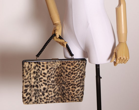 1950s Black, Tan and Brown Leopard Print Faux Fur Telephone Cord Top Handle Oversized Purse