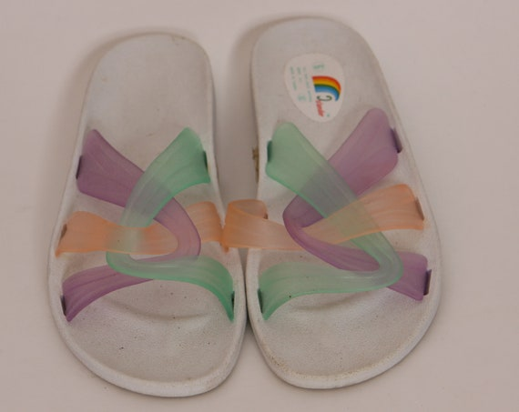 1980s White and Multi-Colored Pastel Plastic Jelly Style Slip On Sandals by Islander -Size 6