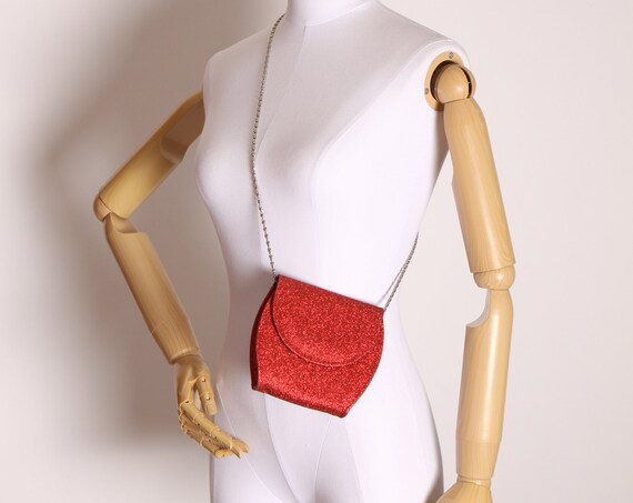 1990s Early 2000s Red Glitter Small Silver Tone Chain Shoulder Bag Purse