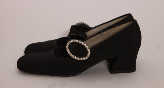 1960s Black and Silver Rhinestone Circle Buckle Square High Heel Shoes by Town and Country -Size 8