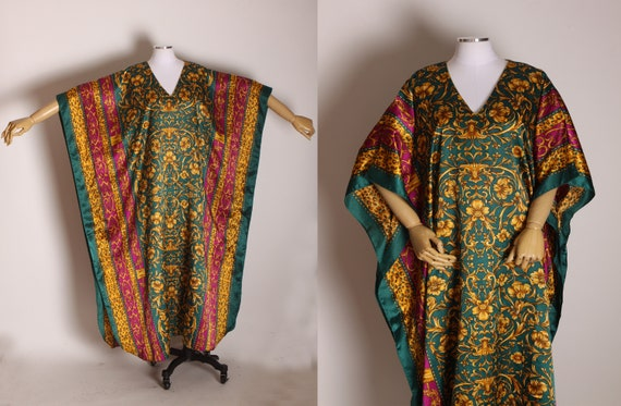1980s Burgundy, Green and Gold Abstract Swirl Flower Pattern Caftan Dress by Winlar