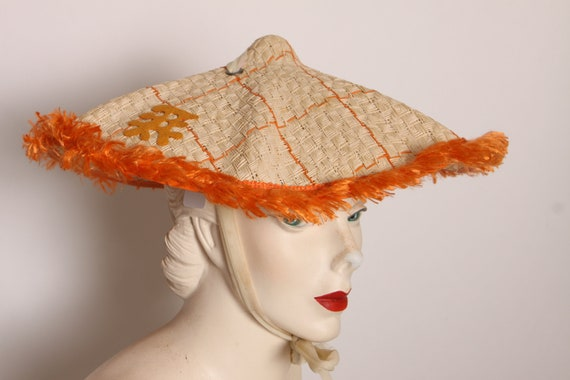 1950s Tan and Orange Fringe Raffia Wide Neck Tie Chinese Character Sun Hat