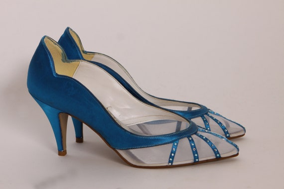 Late 1970s Early 1980s Blue and White Rhinestone Detail Mesh and Satin High Heel Pumps by Touch Ups -Size 7 M