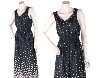 bcde6fc570c Late 1970s Black and White Gradient Polka Dot Sleeveless Dress by Anthony  Richards -L