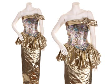 2f3673f28ab 1980s Metallic Gold and Purple Blue Metallic Rose Print Floor Length Hobble  Skirt Strapless Peplum Formal Prom Dress by Mike Benet -XS