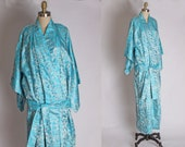 1950s Aqua Blue Satin Floral Metallic Print Lingerie Pajama Robe Kimono by Couturiere - L