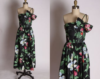 30c83cddc791 1980s Does 1950s Tiki Hawaiian Asymmetrical One Shoulder Dress by Blair  Woonerton -S