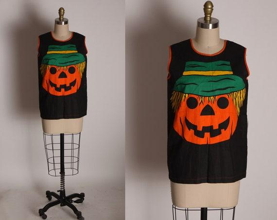 1970s Black, Orange, Green and Yellow Sleeveless Pullover Jack-o-Lantern Halloween Shirt Costume -S