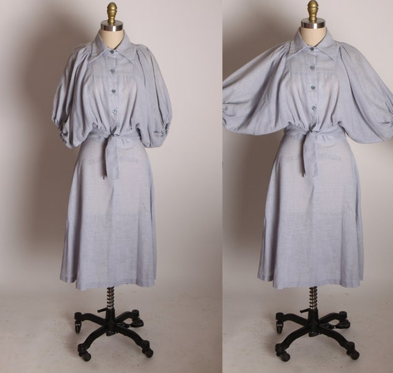 1970s Steel Blue Gray Half Sleeve Balloon Batwing Blouse with Matching A Line Skirt Two Piece Outfit -S