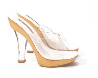 eb03c753a5e 1990s Does 1970s Clear Plastic and Lucite Heel Open Toe High Heel Platform  Shoes by Delicious