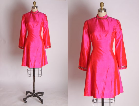 1960s Hot Pink Shimmery Sharkskin Sequin Go Go Min