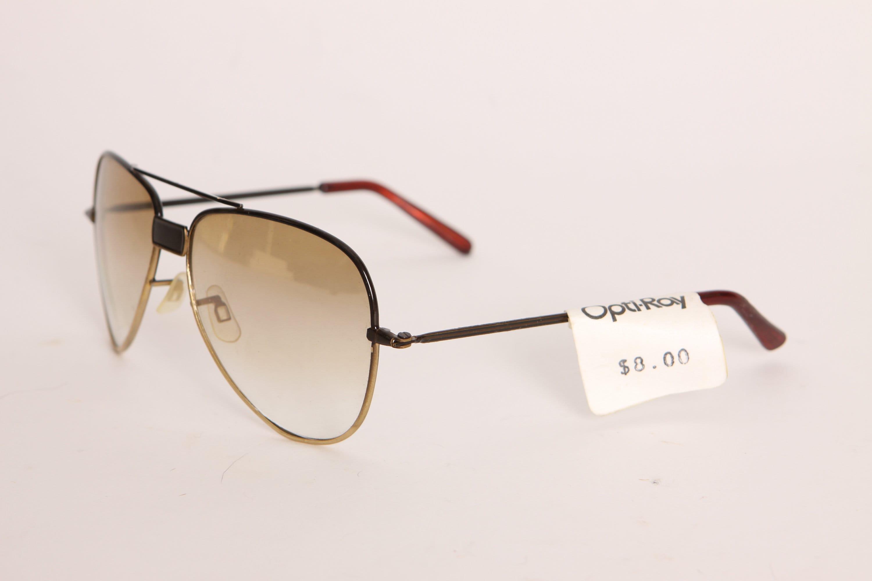 Deadstock 1970s Black and Gold Tone Frame Aviator Sunglasses