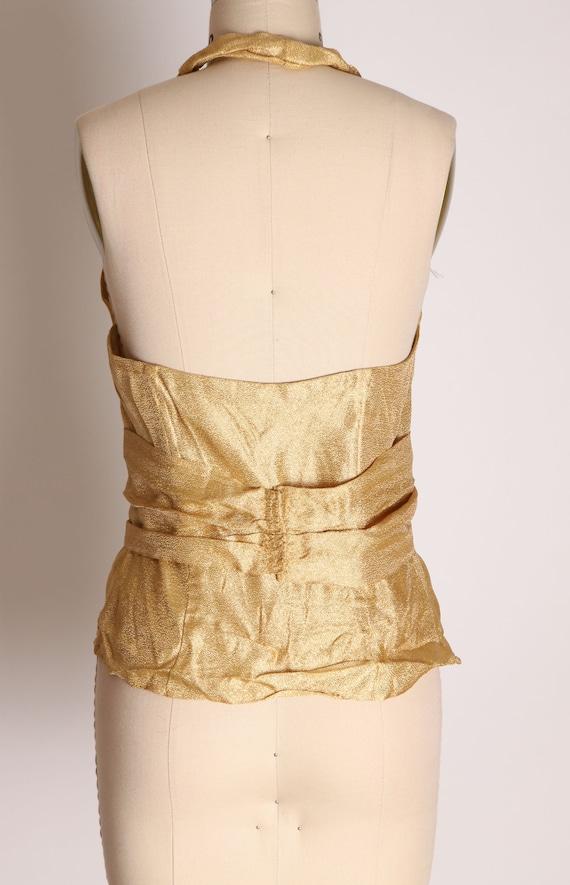 1940s 1950s Gold Lame Halter Top Shirt Blouse -M - image 9