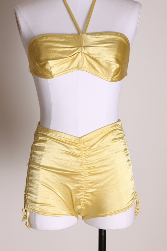 1940s Yellow Satin Stretch High Waisted Two Piece… - image 3