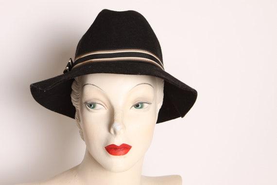 1950s Black Wool Tan Striped Fedora Formal Hat by