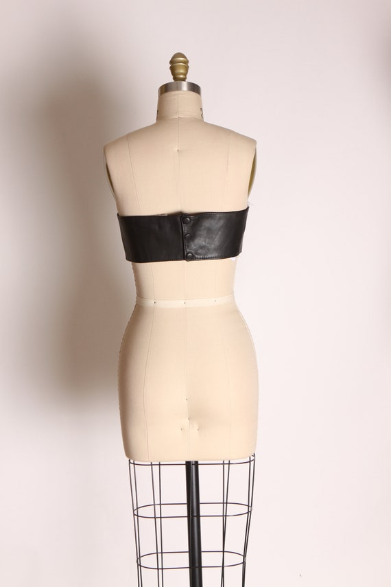 1980s Black Leather Strapless Crop Top Corset Lac… - image 8