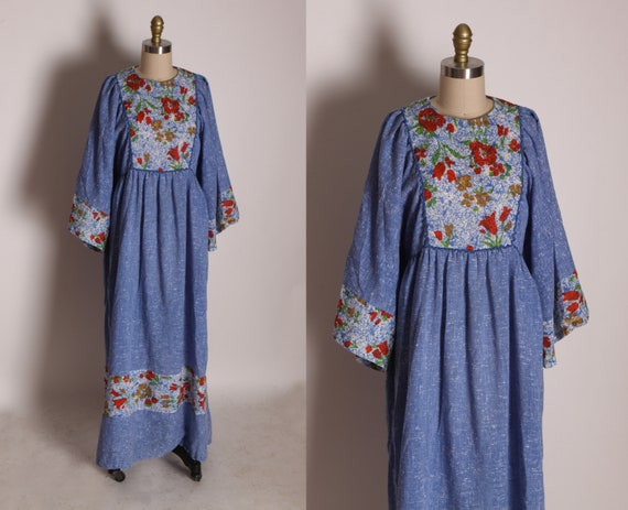 1970s Blue Chambray Denim Style Full Length Square Sleeve Floral Bodice Dress -L