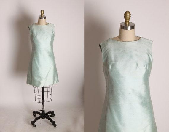 1960s Light Ice Blue Silk Sleeveless Back Bow Detail Go Go Mini Dress by Saks Fifth Avenue -S