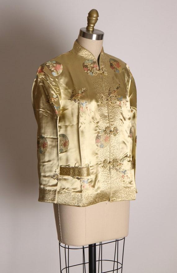 1950s Cream and Green Reversible Chinese Satin Ja… - image 3