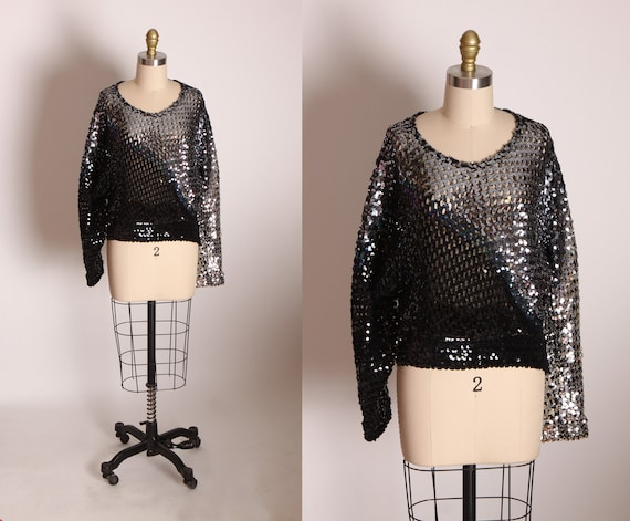 1970s Black, Blue and Silver Stripe Long Sleeve Sequin Shirt Blouse by Toppettes by A. Brod -S