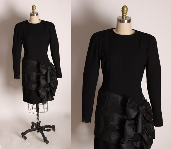 1980s Black Avant Garde Hip Triple Oversized Bow Detail Long Sleeve Cocktail Formal Dress by Bill Blass -S