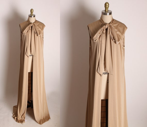 1970s Tan Full Length Sleeve Pussybow Collar Open Front Vest Jacket