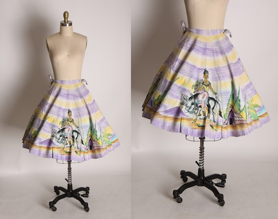 1950s Purple and Green Novelty Print Hand Painted